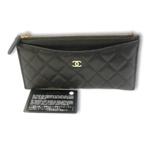 Used!in good condition Chanel Classic Flat wallet pouch Black caviar with gold
