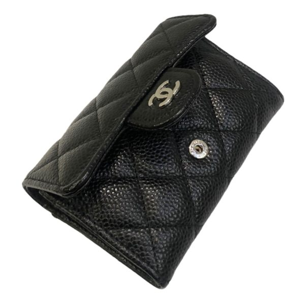 Used like new! Chanel Card holder Black caviar with silver hardware Holo 29