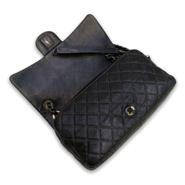 "Used! Chanel Easy Flap bag metallic black Rhw Holo 18"""