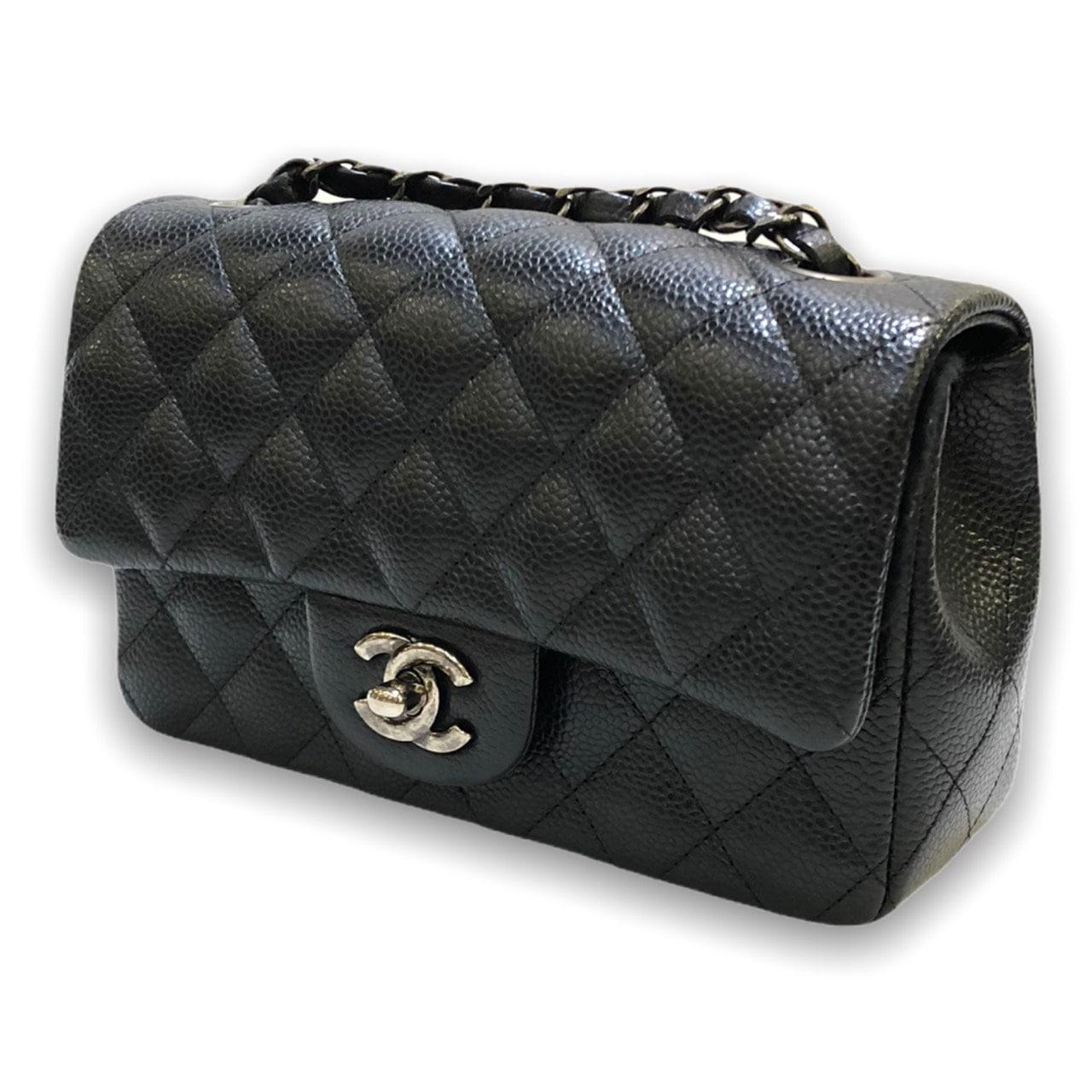 "Used! In good condition Chanel mini 8"" black caviar Rhw Holo 21"