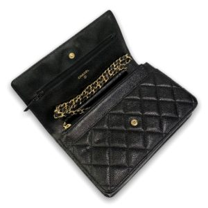 """Used!I in good condition Chanel wallet on chain 7.5"""" black caviar with gold hardware Holo 22"""