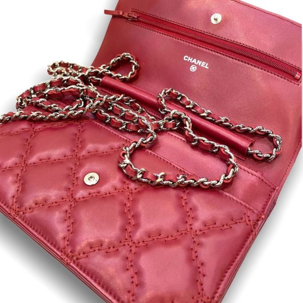 Used!in good condition Chanel Wallet on chain red lambskin with silver hardware Holo 17
