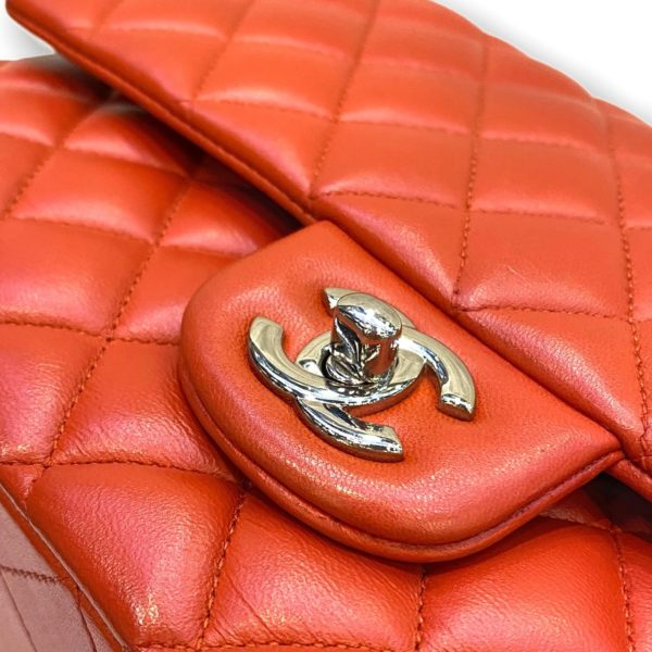 """Used! Chanel Classic 10"""" orange lambskin with Silver hardware Holo 20"""""""