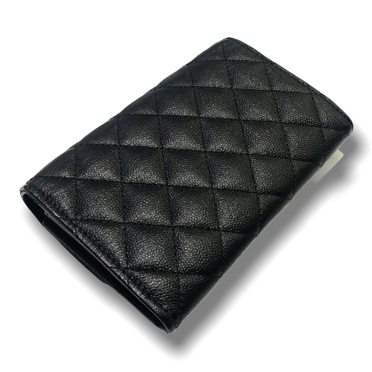 Used ! Chanel Classic medium wallet black caviar with silver hardware Holo 25