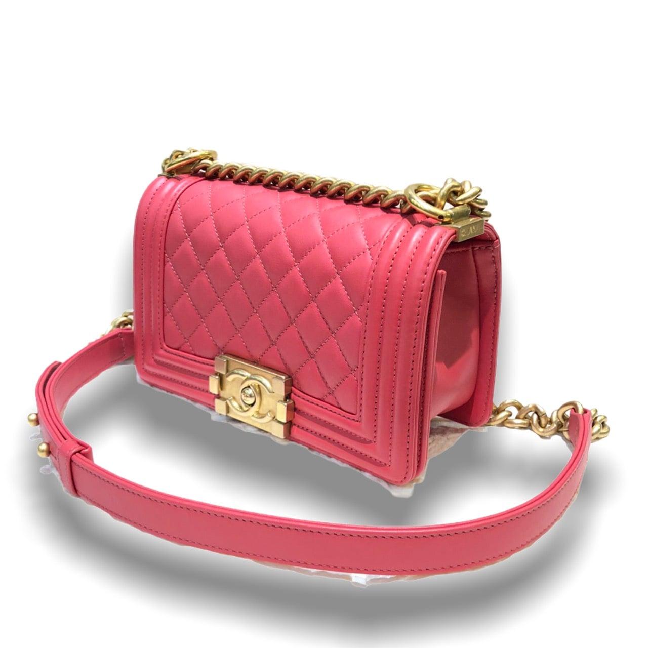 "Like new ! Chanel Boy 8"" pink lambskin with gold hardware Holo 29 Fullset shop Thai"