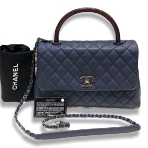 """Used in good condition ! Chanel Coco 10.5"""" Navy caviar with red lizard handle Rhw Holo 23"""